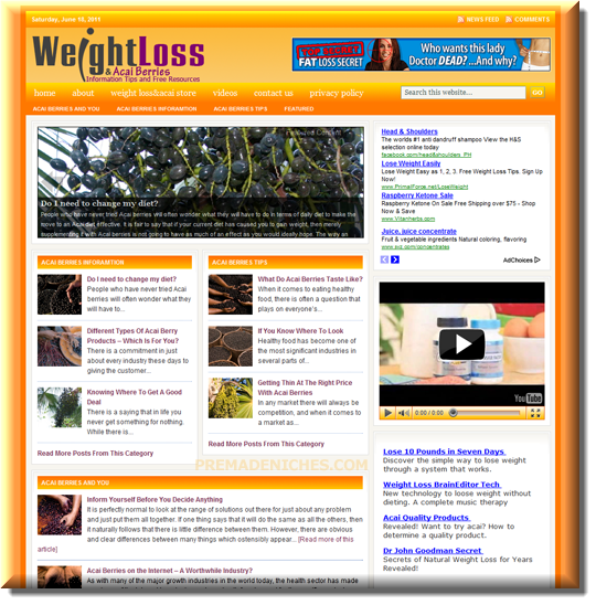 weight loss and acai berry website