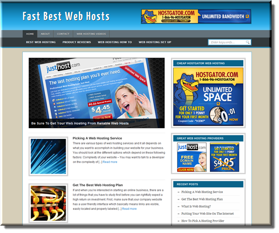 webhosting ready made website
